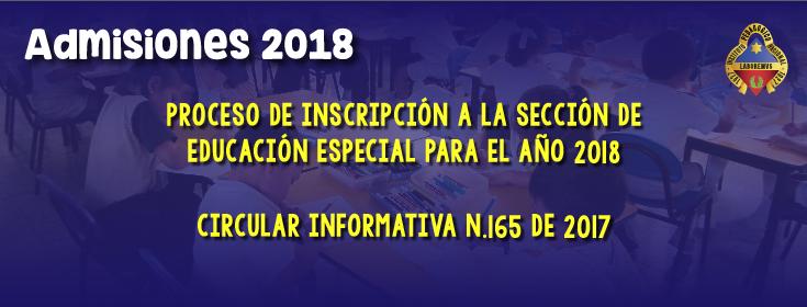 admisiones educación especial