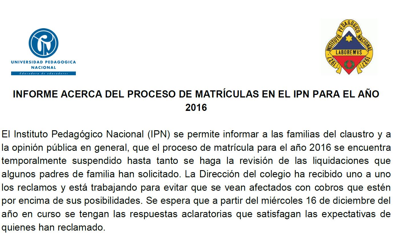 PROCESO DE MATRÍCULAS EN EL IPN PARA EL AÑO 2016